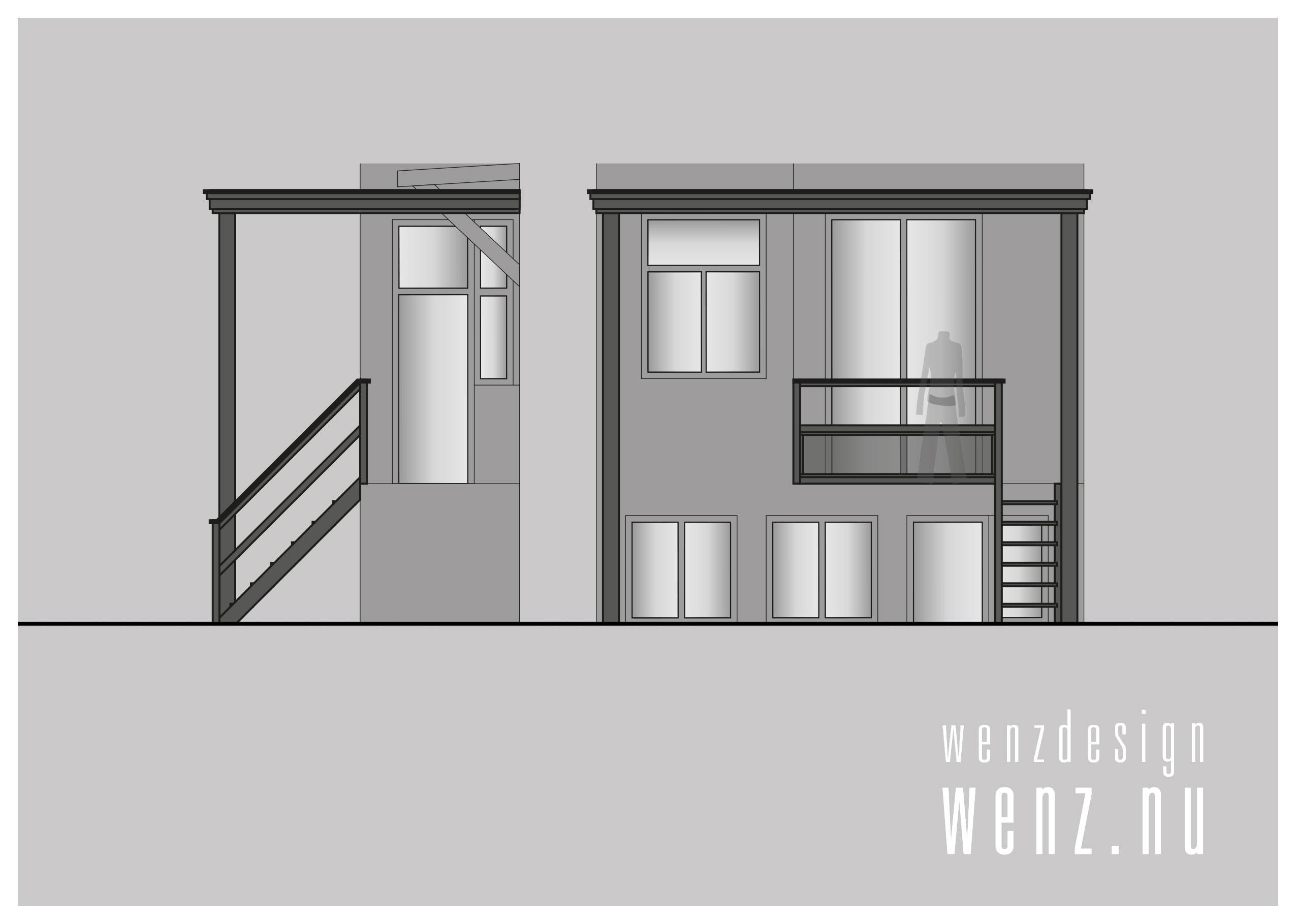 Schetsontwerp veranda balkon Amersfoort WENZ design