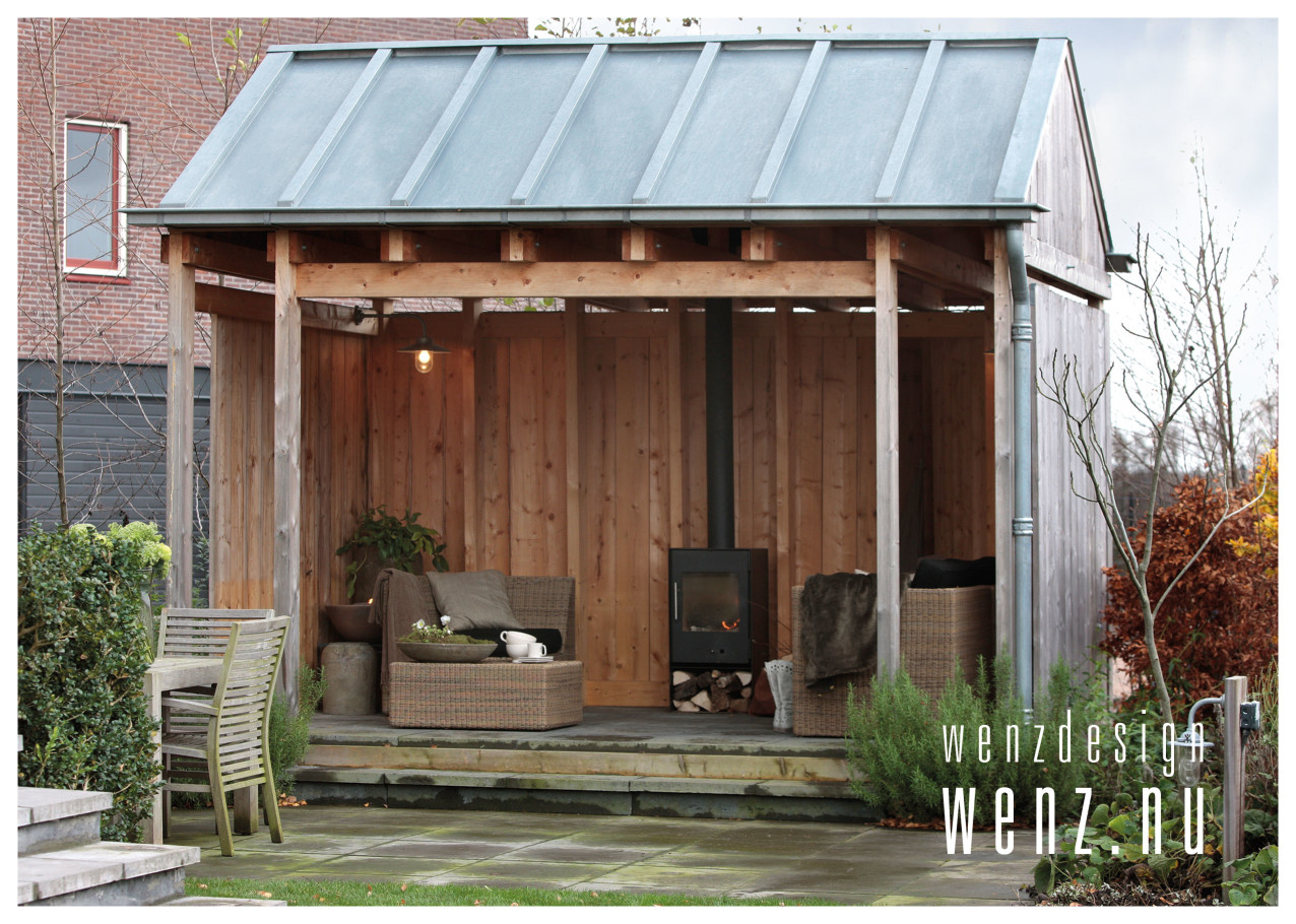 Buiten genieten van tuinhuis met openhaard wenzdesign exclusief ontwerp en realisatie van - Ontwerp tuinhuis ...