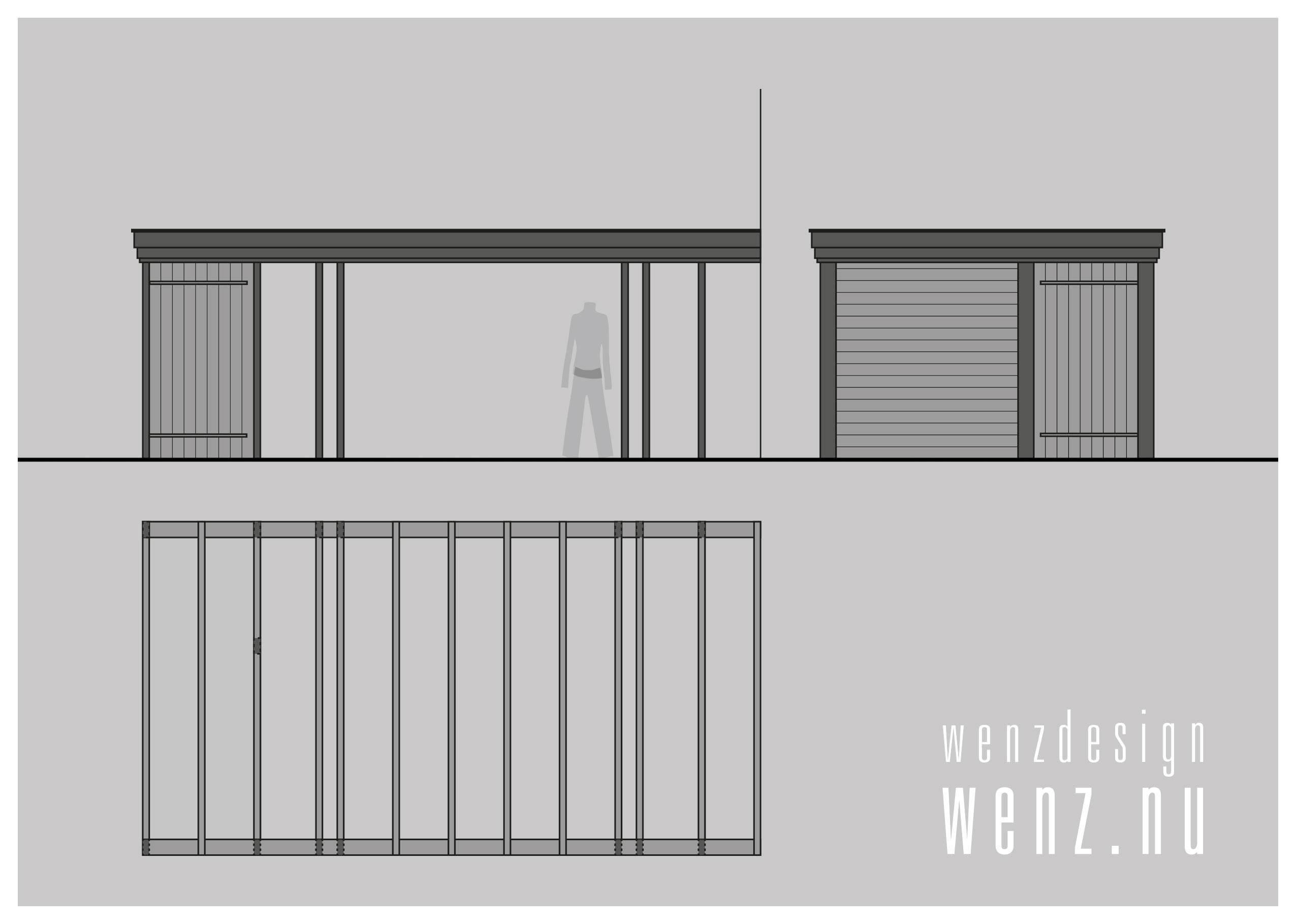 Schetsontwerp veranda overdekt terras WENZdesign
