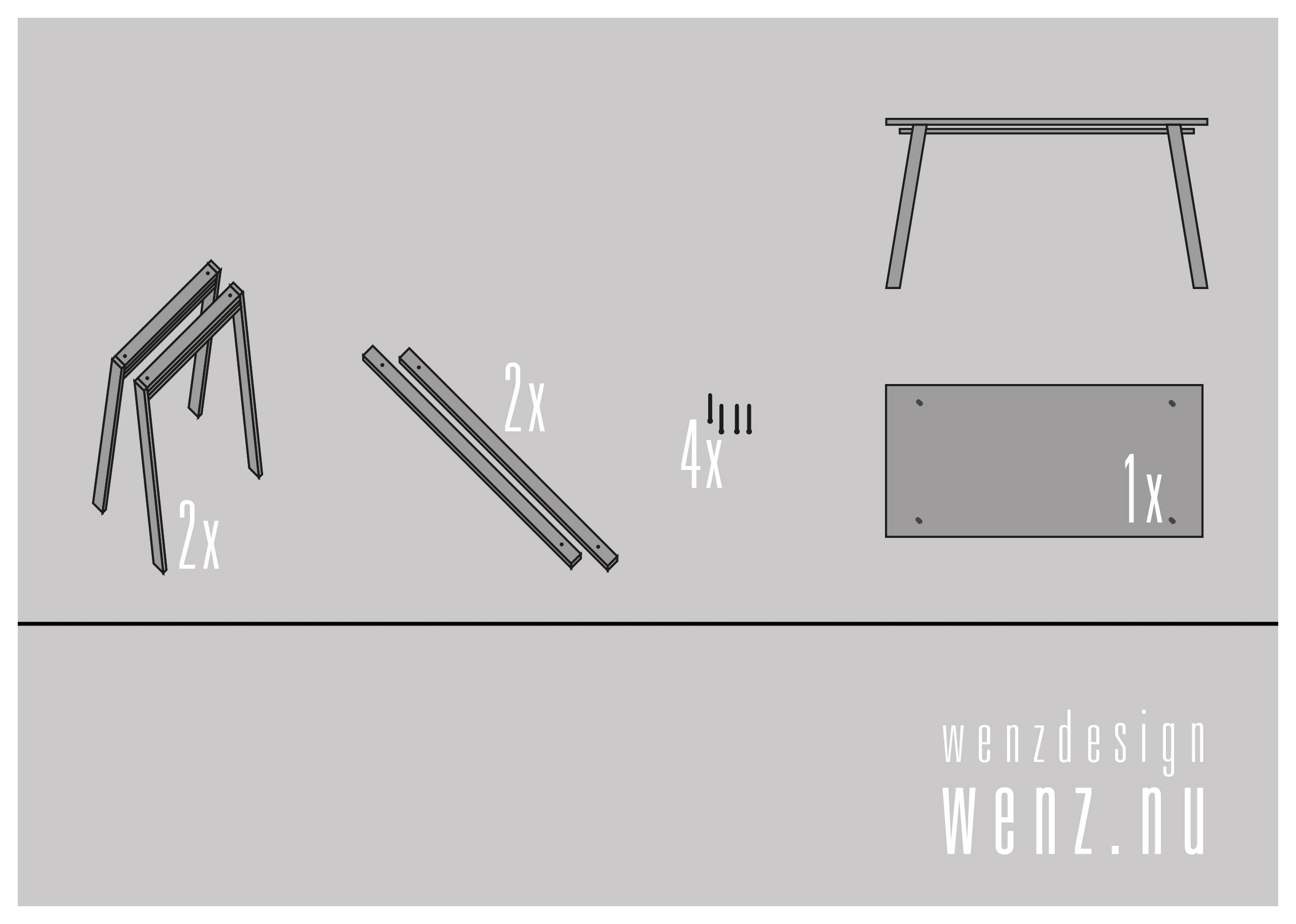 Schetsontwerp tafel meubels WENZdesign