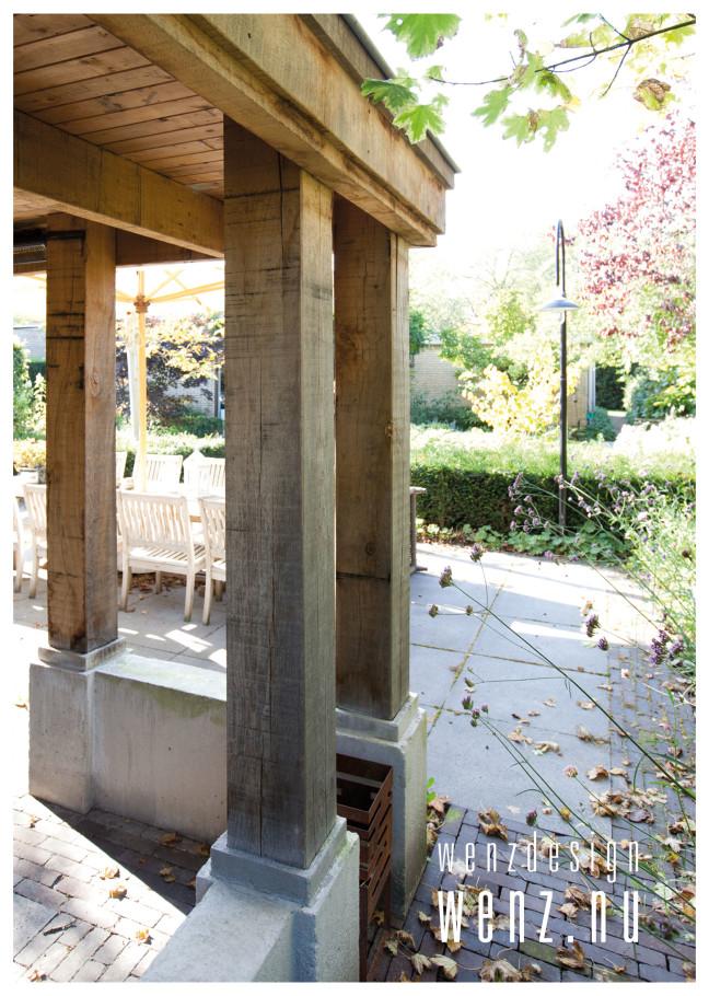 Robuust overdekt terras met bergingsruimte wenzdesign exclusief ontwerp en realisatie van - Veranda met stenen muur ...